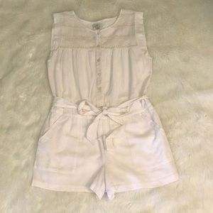 Ann Taylor Loft White Shorts Romper Sz Medium